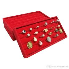 Red Velvet Jewelry Ring Display Organizer Storage Case Earring Stud Cufflinks Box Tray Bar 11223 Cm