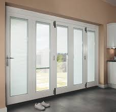 Patio Door Curtains And Blinds Ideas by White Wooden Patio French Door With One Way Mirror Panel Exterior