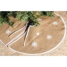 Imperial Home Barnyard Brown Rustic Burlap 36 Inch Round White Snowflakes Christmas Tree Skirt