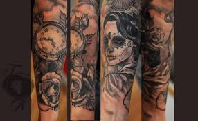 Mexican Style Very Detailed Big Black Ink Woman With Clock And Flowers Tattoo On Sleeve