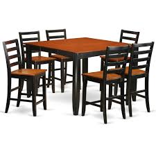 7 Pc Pub Table Set- Square Counter Height Table And 6 Dining Chairs By East  West Furniture