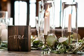Wedding Head Table Garland Brass Candlesticks Wooden Number