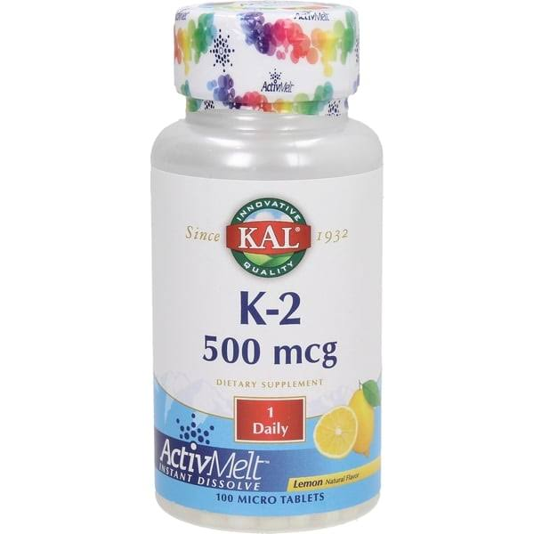 Kal Vitamin K2 ActivMelt Supplement - Lemon, 500mcg, 100 Tablets