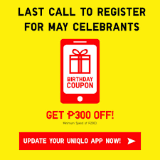 To Our Valued May Birthday Celebrants:... - Uniqlo ... Get To Play Scan To Win For A Chance Uniqlo Hatland Coupons Codes Coupon Rate Bond Coupons Android Apk Download App Uniqlo Ph Promocodewatch Inside Blackhat Affiliate Website Avis Promo Code Singapore Petplan Pet Insurance The Us Nationwide Promo Offers 6 12 Jun 2014 App How Find Code When Google Comes Up Short