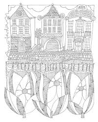 Contemporary Line Art Of Three Houses With A Boat In Canal Front And Flowers
