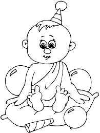 Baby Boy With Balloon Coloring Pages Printable