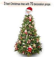 TIED RIBBONS Xmas Christmas Tree 3 Feet With 70 Hanging Ornaments