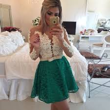 aliexpress com buy elegant woman long sleeve lace short prom