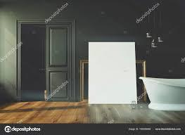 schwarzes badezimmer weiße badewanne getöntes poster
