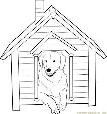 Dog House With Inside Coloring Page