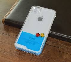 Fish Lovers Floating Liquid Hard Case Cover FOR Iphone 4 4s Blue