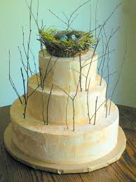 Tiered Cake With Thin Branches Topped Birds Nest