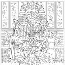 Antistress Stylized Ancient Pharaoh And Egyptian Symbols Hieroglyphs On The Background Freehand