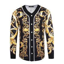 Spring Fashion 3D Printing Vintage Style V Neck Sport Baseball Jackets Coats For Men