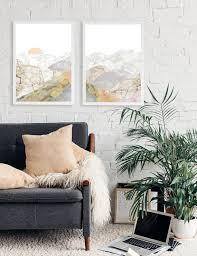 10 rabatt auf berg gerahmt wand kunst set 2 wohnzimmer set dekor landschaft natur liebhaber kunstwerk moderne große kunst vatertag geschenk