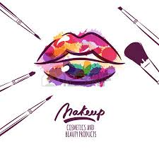 Vector watercolor hand drawn illustration of colorful womens lips and makeup brushes Watercolor background
