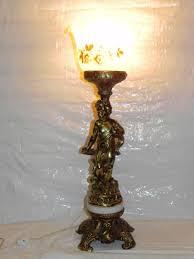 antique brass cherub putti angel torchiere table l glass shade