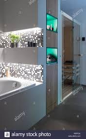 badezimmer der modernen haus mit dusche und kleiner sauna