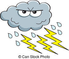 Cartoon Lightning Storm Cloud Symbol With Numberone1 Clip Art