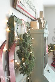 Red Skis In Vintage Rustic Christmas Decor