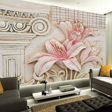 Custom Wall Painting Non Woven Wallpaper 3D Lily Flower Murals Home Interior Decoration Backdrop Mural