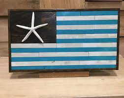 Beach Sign Flag American With Star Fish Decor