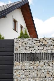 100 Gabion House A Fragment Of A House And A Fence Made Of A Gabion License