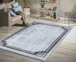 teppich grau schwarz griechisch wohnzimmer waschbar kurzflor