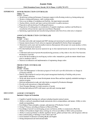 Production Controller Resume Sample As Image File