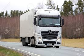 100 Mercedes Semi Truck SALO FINLAND APRIL 22 2016 White Benz Actros