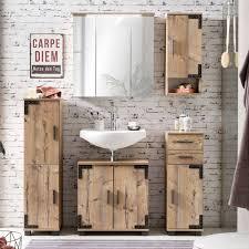 badmöbel set im industrial design in silberfichte nb toulouse 04 mit led spiegelschrank b x h x t ca 161 1 x 200 x 32 6 cm