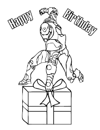 Iron Man With Birthday Present Coloring Page