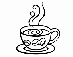 cappicino day clipart black and white 1