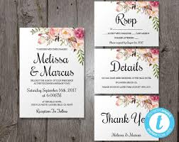 Bohemian Wedding Invitation Template Set Floral Boho Inv And Chic Feather