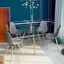 esszimmergruppe moderner glastisch rund esstisch mit 4