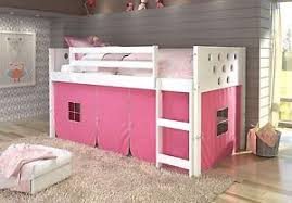 Twin Circles Low Loft Bunk Bed for Girls with Tent Underneath