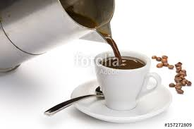 Coffeepot Pouring Black Coffee Into Cup On White Background