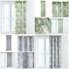 details zu vorhänge mit ösen ösenvorhang ösenschal pflanzen grün grau wohnzimmer gardinen