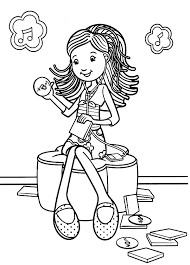 Groovy Girls Listening Music Colouring Page