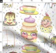 stoff meterware essen geschirrhandtuch küche kaffee gelb cupcake schürze vintage comic weiß pastell teetasse spaß