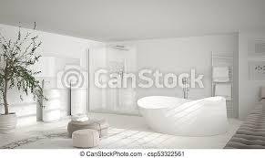modernes klassisches badezimmer mit großem rundem teppich
