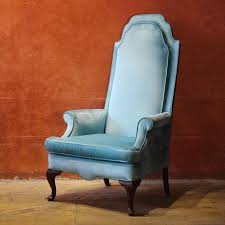 light blue velvet high back chair chairish