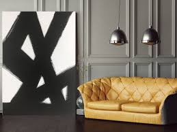 Abstract Black White Slash No 2 Art Painting Living Room Dining Bedroom