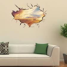 Europe Room Decor 3d Wall Stickers Crack Sea Beach Removable Art Home Livingroom Bedroom