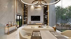 104 Interior Design Modern Style 3d Rendering House Open Living Space With Kitchen Luxury Duplex Apartment Residence Home Decoration Luxury Stock Photo Picture And Royalty Free Image Image 147135926