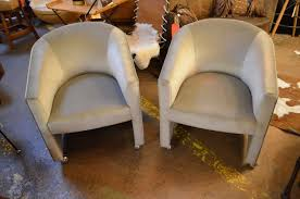 Vintage Mid Century Modern Milo Baughman Style Barrel Back Chairs On Wheels  Newly Upholstered