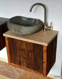 waschtisch echt altholz tirol kitzbühel flussstein travertin waschbecken marmor