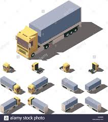 Vector Isometric Truck With Tilt Box Semi-trailer Icon Set Stock ...