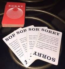 1964 Parker Brothers Sorry Game Card Deck 45 Cards Replace Parts VTG BoardGames