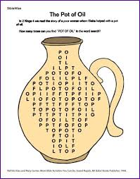 This Website Has A Lot Of Coloring Pages Worksheets And More On Elijah Elisha One Is The Pot Oil Puzzle